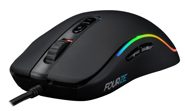 FOURZE GM700 Black Gaming Mouse seen from the front left, with RGB
