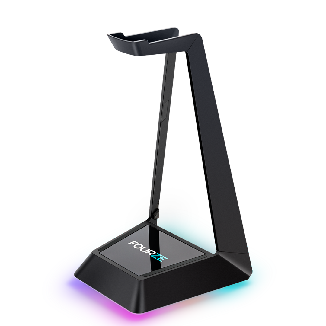 FOURZE Ember headset stand with wireless charging seen slightly from the left