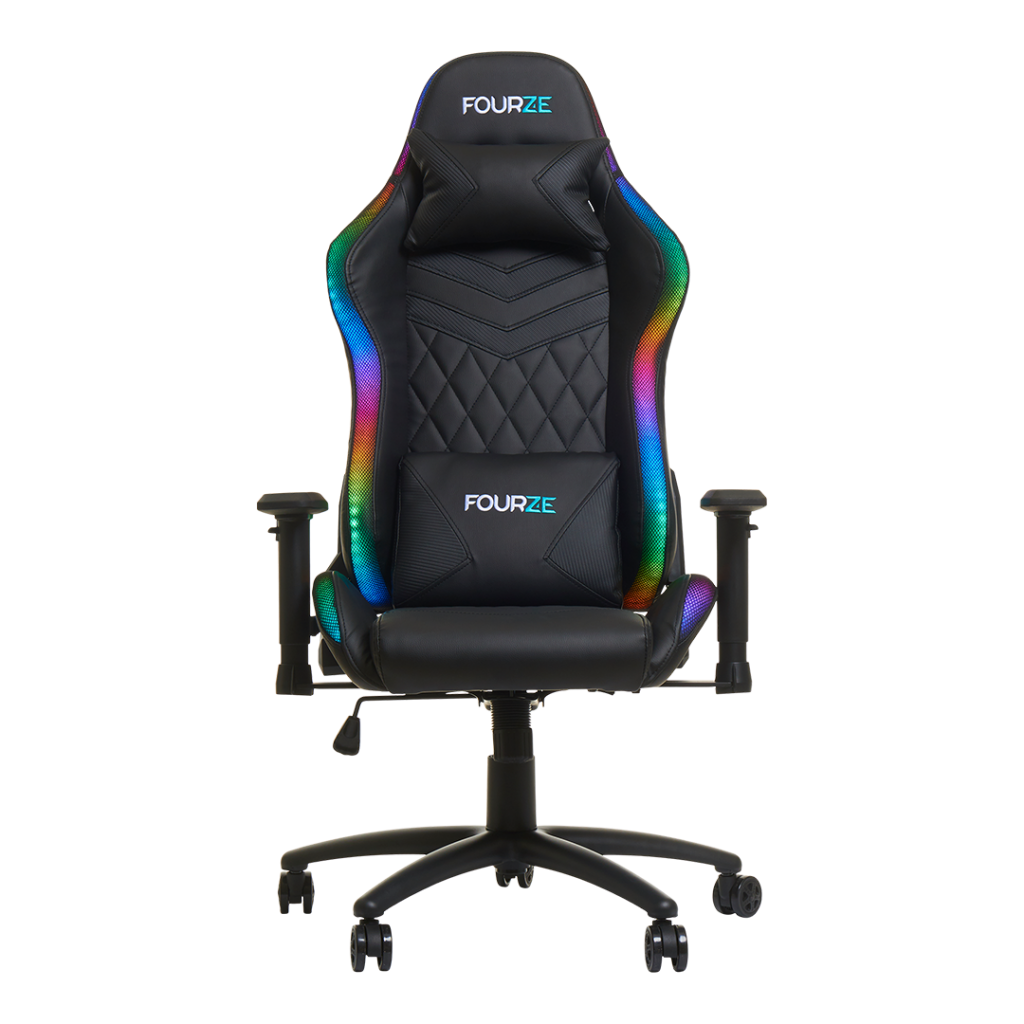 FOURZE Lightning RGB Gaming Chair product image seen from the front w neck and lumbar pilow.