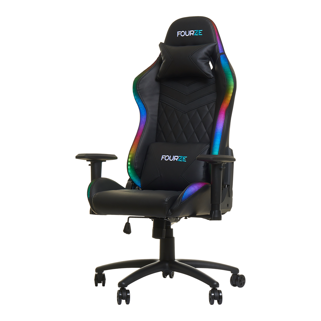 FOURZE Lightning RGB Gaming Chair product image seen from the left. Shown with neck and lumbar pillow.