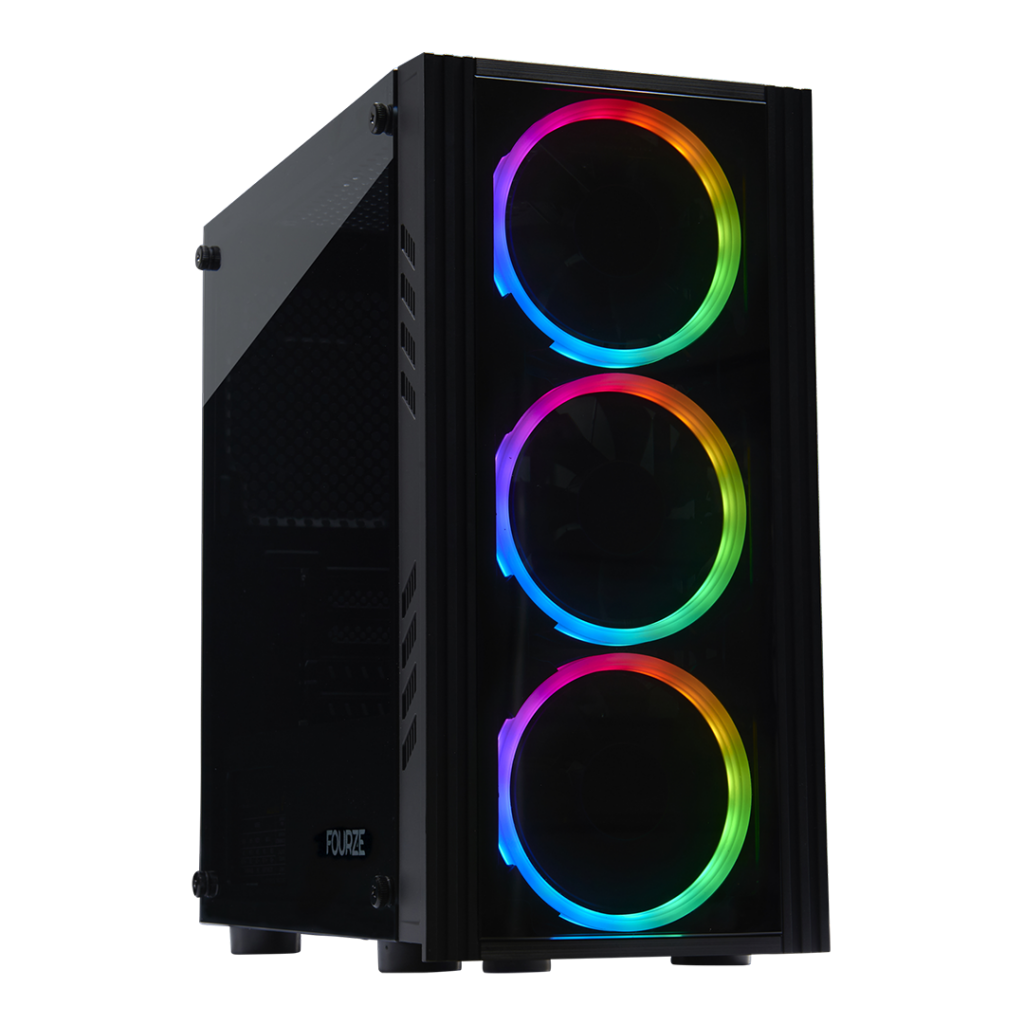 FOURZE T160 RGB Gaming Case, seen from the left front side.
