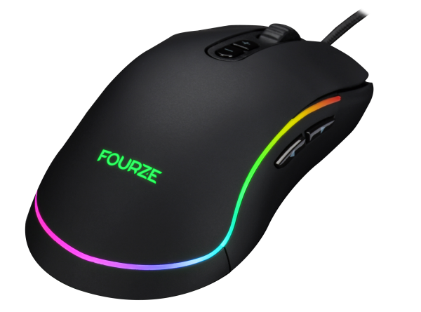 FOURZE GM700 Black Gaming Mouse seen from the right top. With RGB.
