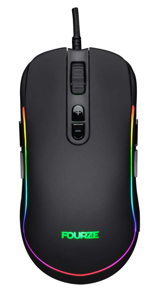 FOURZE GM700 Black Gaming Mouse seen from the top, with RGB.