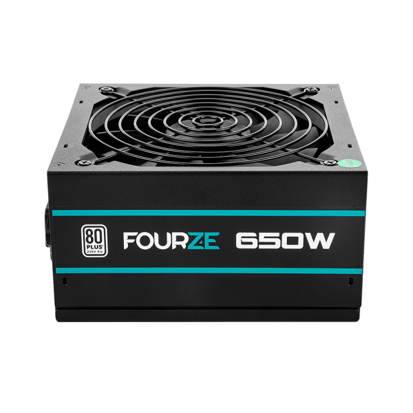 FOURZE PS750 PSU Power Supply seen from the front. 80+ certified.