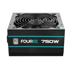 FOURZE PS750 PSU Power Supply, seen from the top front. 80+ certified.