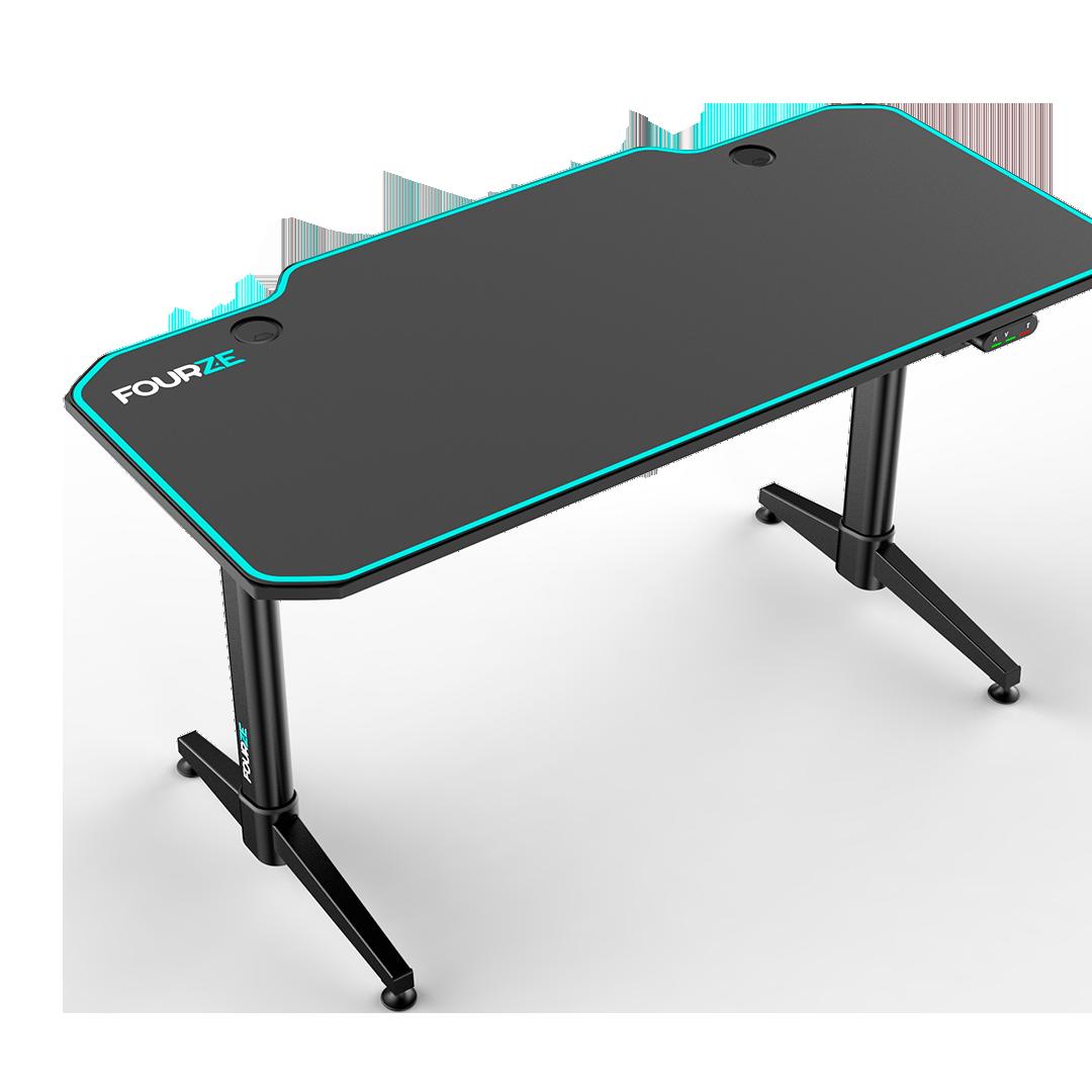 FOURZE D1400-E justerbar gaming skrivebord, set fra venstre top