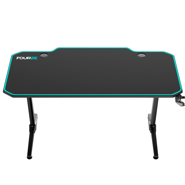 FOURZE D1400 Cyan Gaming Desk product image seen from the front top