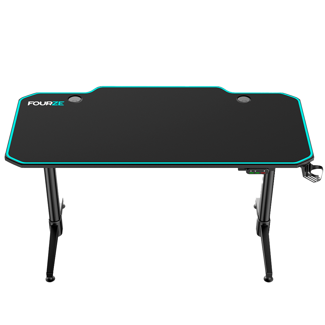 FOURZE D1400-E adjustable gaming desk product image. Seen from the front top.