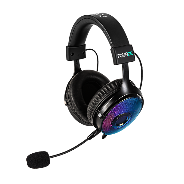 FOURZE GH350 RGB Gaming Headset product image seen from the right side with microphone attached.