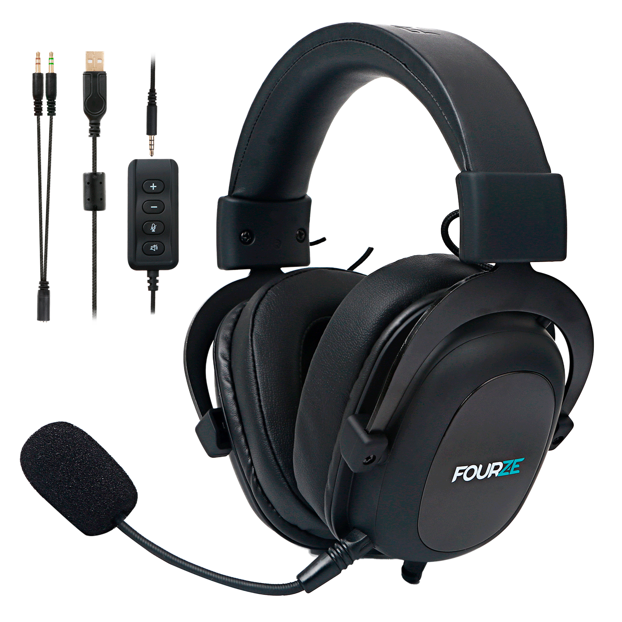 FOURZE GH500 Gaming Headset seen from the left side with cables and microphone.