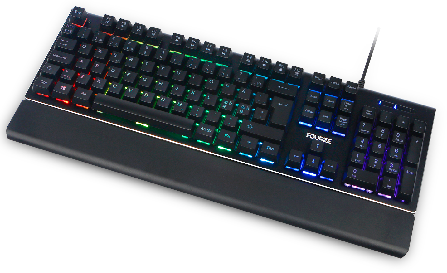FOURZE GK100 X-switch semi-mechanical keyboard product image seen from the top with RGB