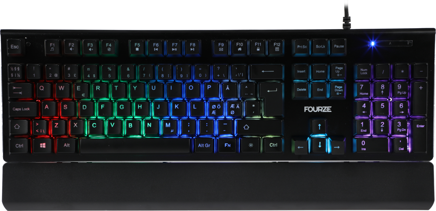 FOURZE GK100 X-switch Semi-Mechanical Gaming keyboard seen from the front with RGB
