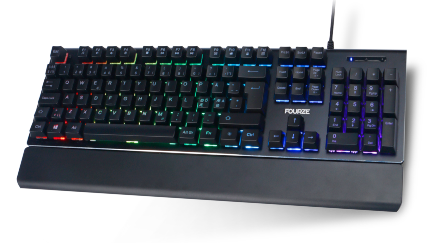 FOURZE GK110 X-switch Semi-Mechanical Gaming Keyboard slightly lifted of the ground, seen from the top.