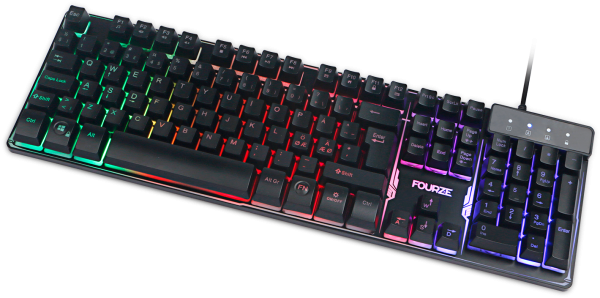 FOURZE GK120 Membrane Gaming Keyboard shown from the top with LED