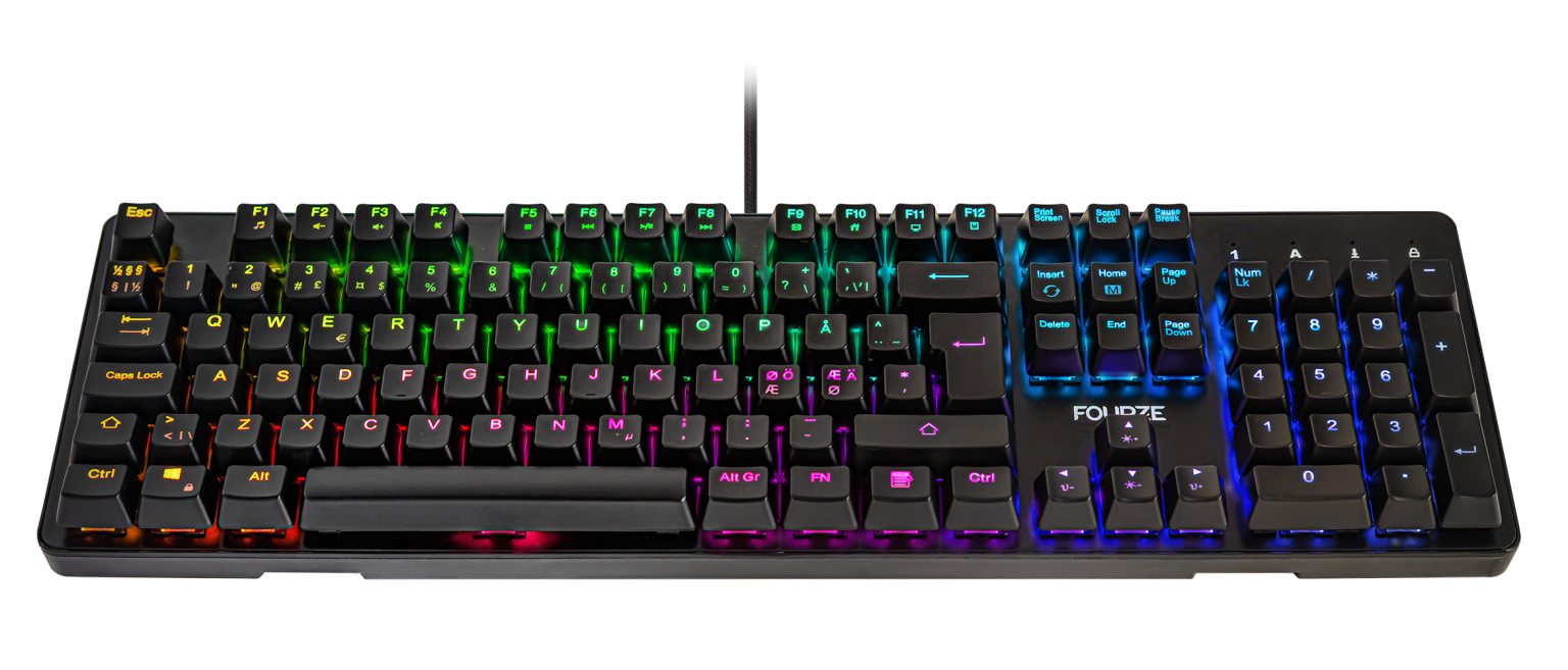 FOURZE GK130 Red Switch Mechanical Gaming Keyboard product image seen from the front with RGB