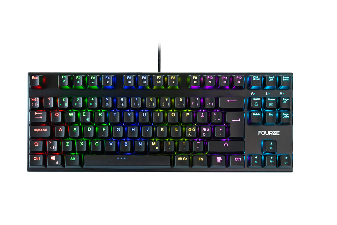 FOURZE GK140 Red Switch Mechanical Gaming Keyboard seen from the front with RGB.