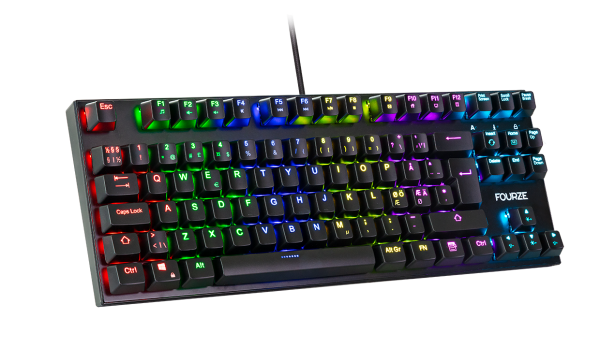 FOURZE GK110 Blue Switch Mechanical Gaming Keyboard product Image, seen from the left with RGB