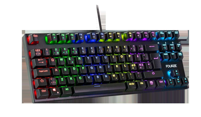FOURZE GK110 Blue Switch Mekanisk gaming tastatur produktbillede, set fra venstre med RGB