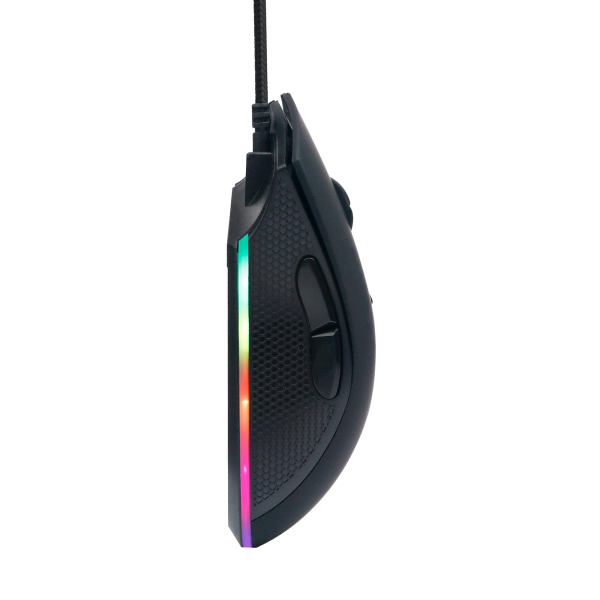 FOURZE GM110 Gaming Mouse seen from the side, hanging down.