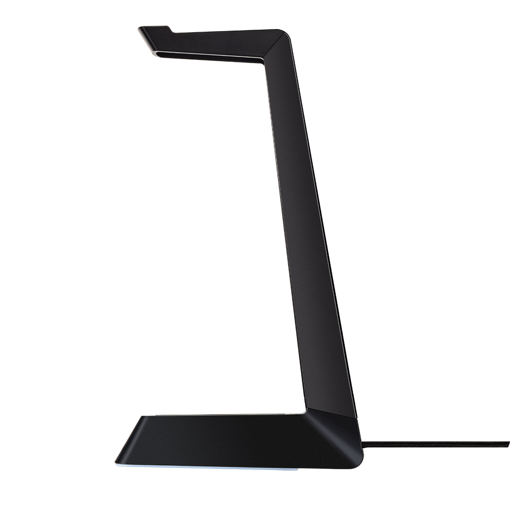FOURZE Ember headset stand with wireless charging seen in profile.