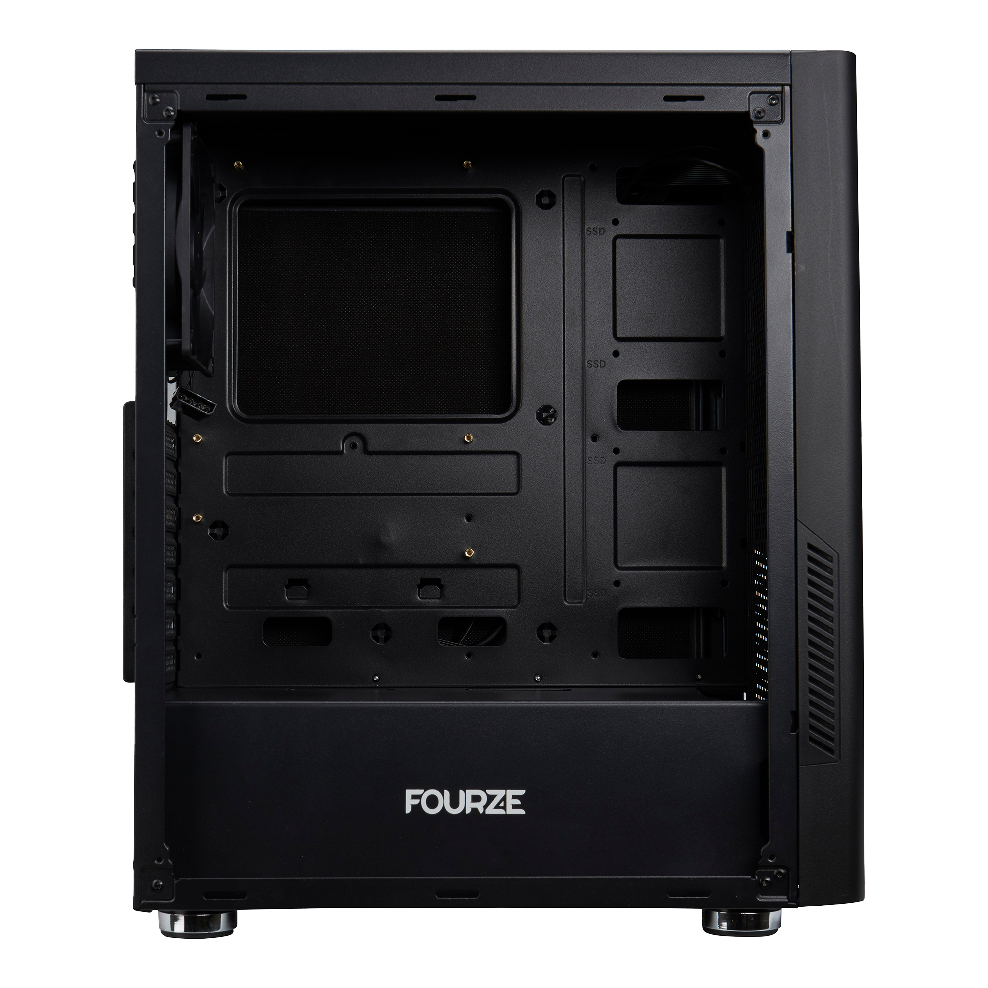 FOURZE T100 Silent Gaming Case. Seen from the side, shows the inside of the gaming case.