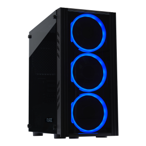 FOURZE T155 LED Gaming Case, seen from the left front side.