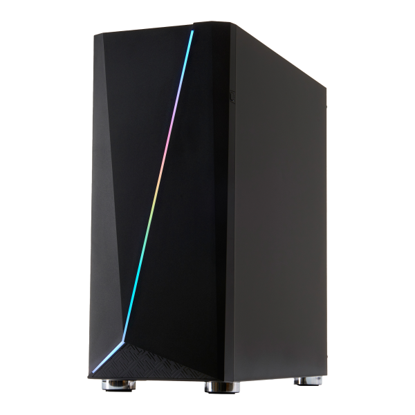 FOURZE T450 RGB Gaming Case product image, seen from the front right.
