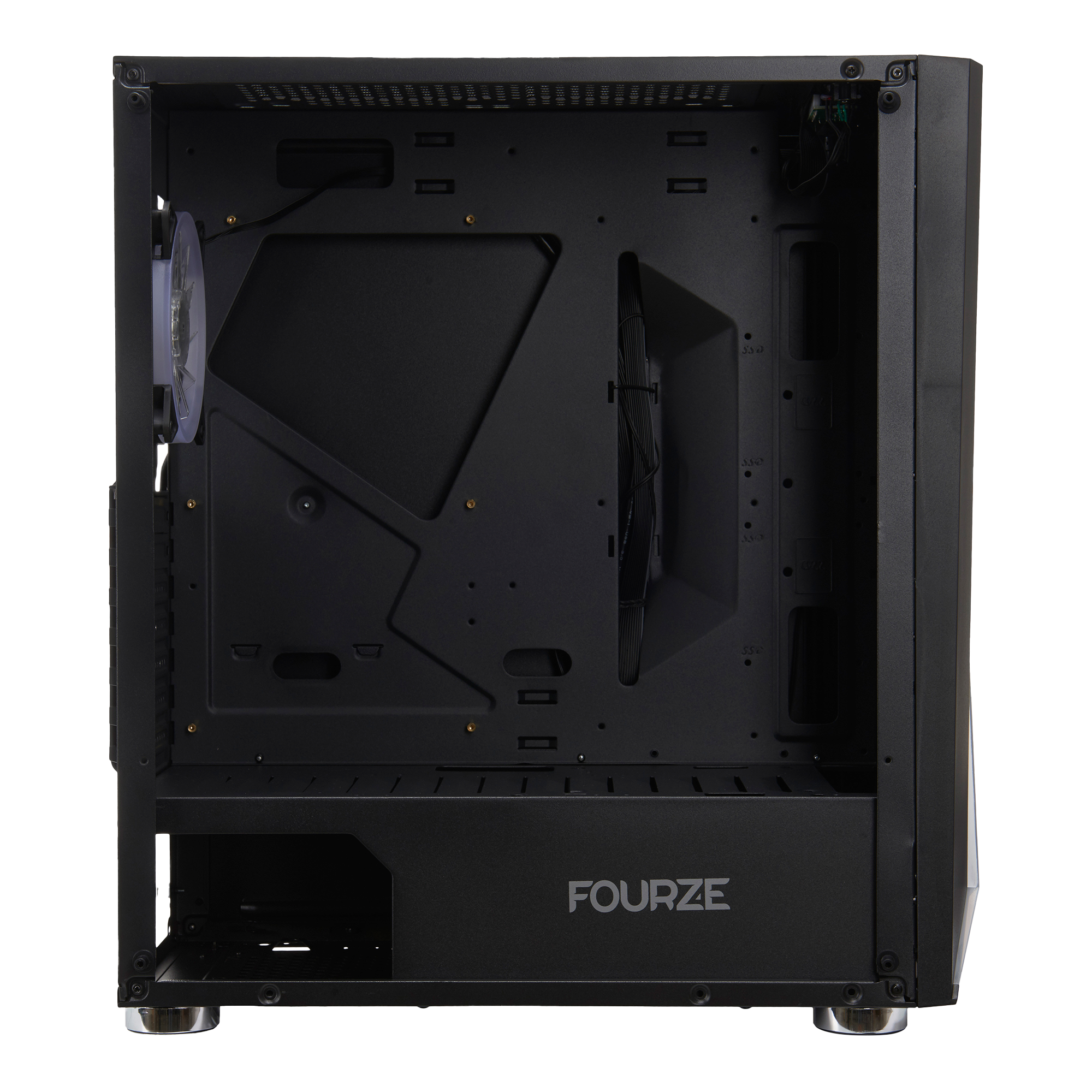 FOURZE T450 RGB Gaming Case, seen from the side. Shows the inside of the T450 gaming case.