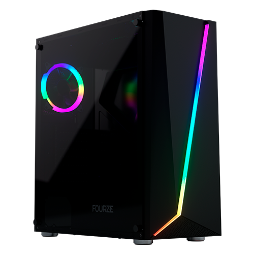 FOURZE T450 RGB Gaming Case product image, seen from the left front.