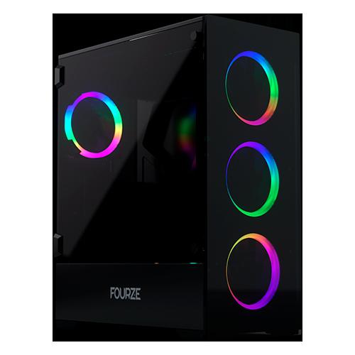 Produktbillede af FOURZE T760 RGB gaming kabinet, set fra venstre forside.