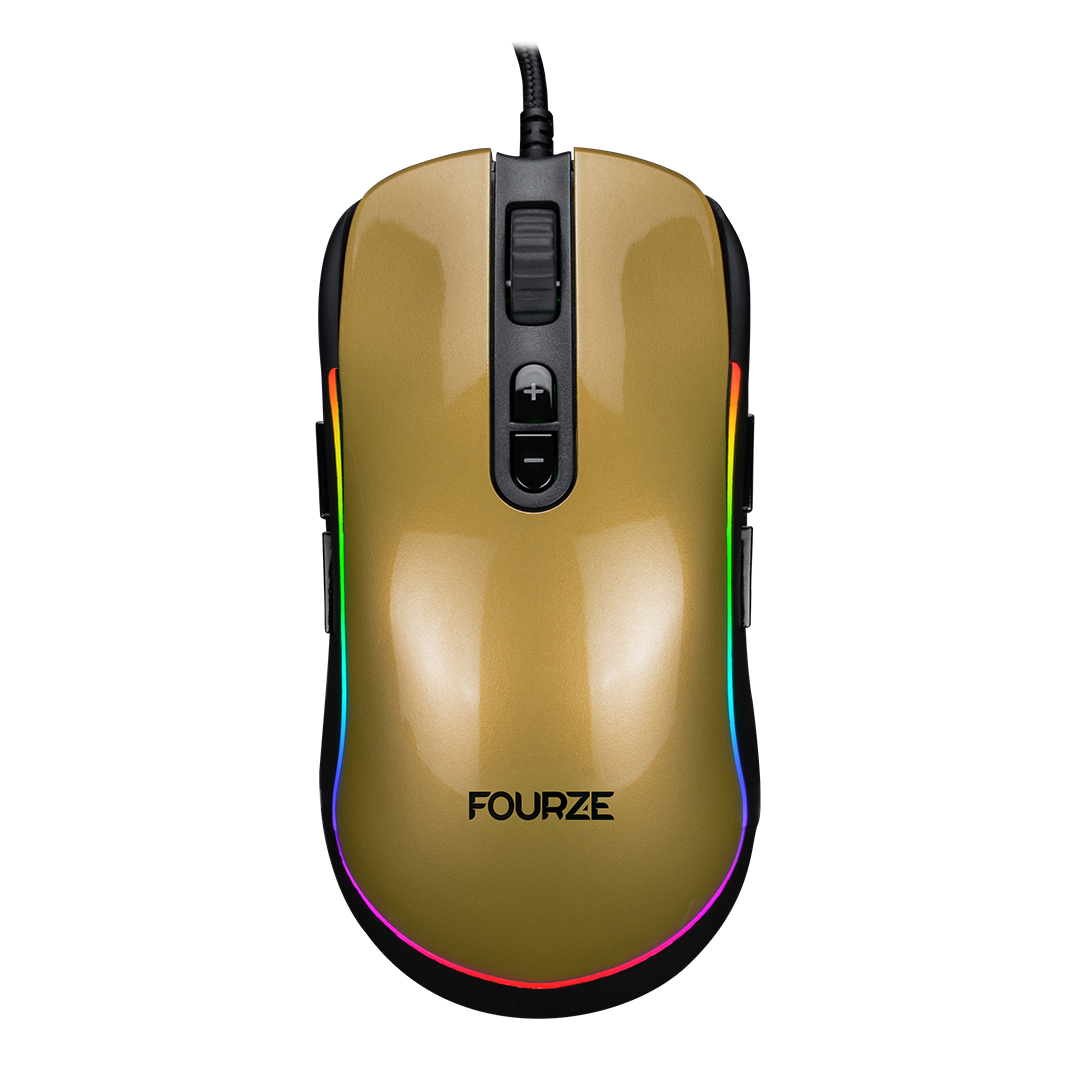 FOURZE GM700 Gold Gaming mouse product image. Shown from the top