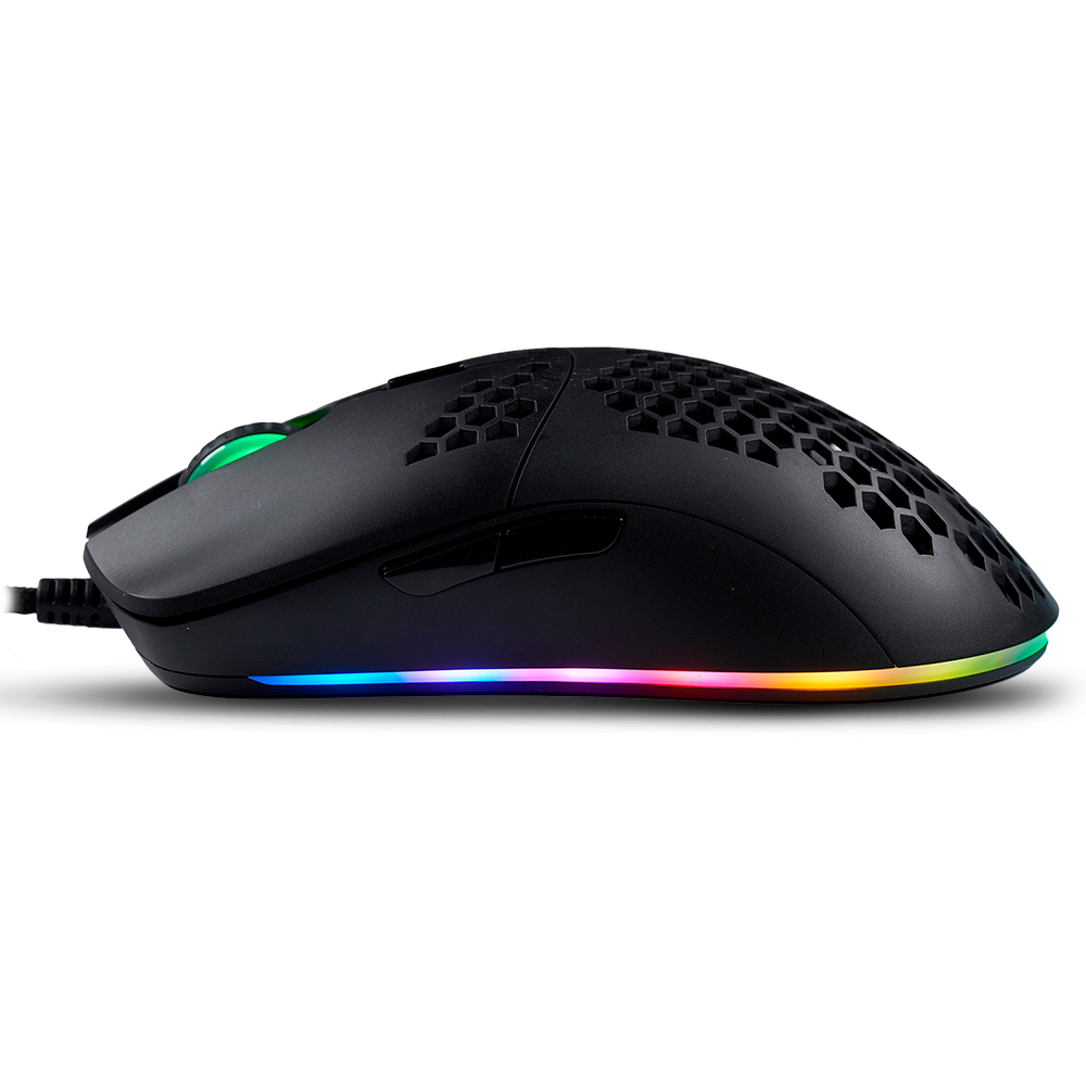 FOURZE GM800 Gaming Mouse shown from the left side, with shadow underneath.