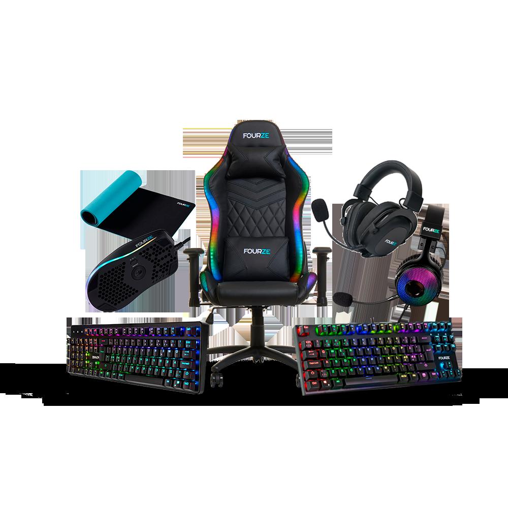 FOURZE Gaming produktsamlingsbillede. FOURZE Lightning i midten, GK130 og GK140 gaming tastatur på hver side med GM800 gaming mus, GH500 og GH350 gaming headset, der svæver over.